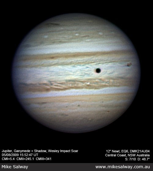 2009 Jupiter Impact Scar and Ganymede